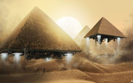 Free Fantasy Art Sand Desert Camels Takeoff Pyramids Photomanipulation