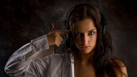 Free Girl with Headphones on