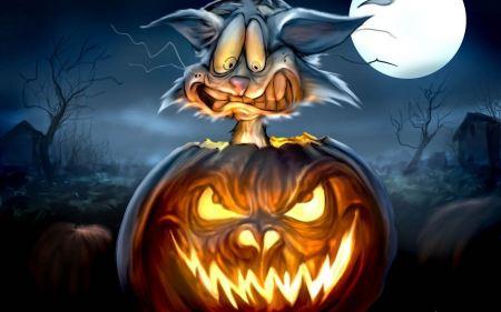 Free Halloween Moon Rabbit Inside Pumpkin