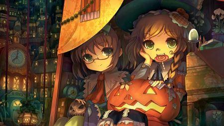 Free Two Anime Blonde Girls Halloween