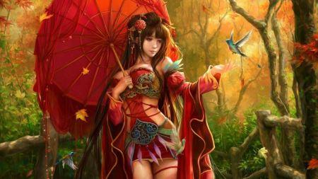 Free Fantasy Asian chinese japanese girl wearing red dress