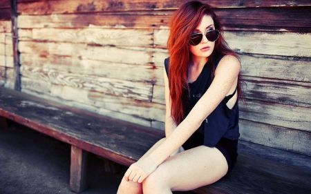 Free Redhead Girl with Freckles Wearing Sunglasses