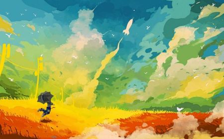 Free Clouds Rockets Umbrellas Multicolor Artwork