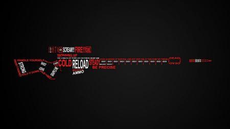 Free Black White Red Typography Sniper Gun
