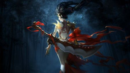 Free Female Warrior in Dark Forest