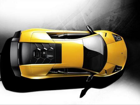 Free Sky View of Yellow Lamborghini