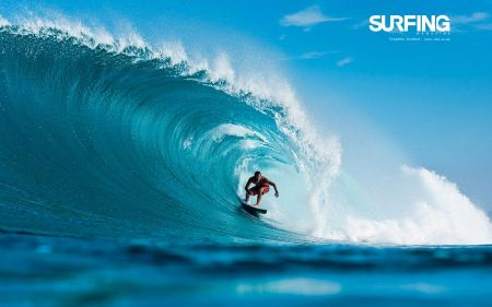 Free Surfing in Teahupoo Tahiti