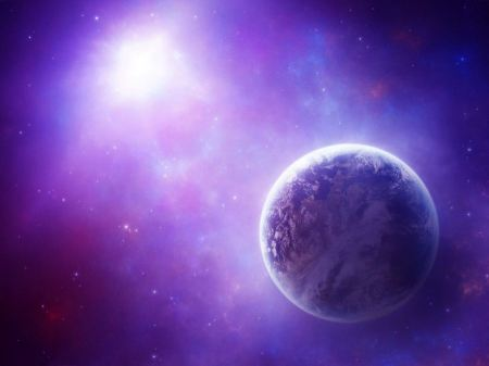 Free Solitary Violet Planet Wallpaper