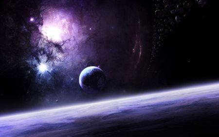 Free Purple Nebula with Asteroids