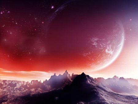 Free Mountains with Planet on the Horizon